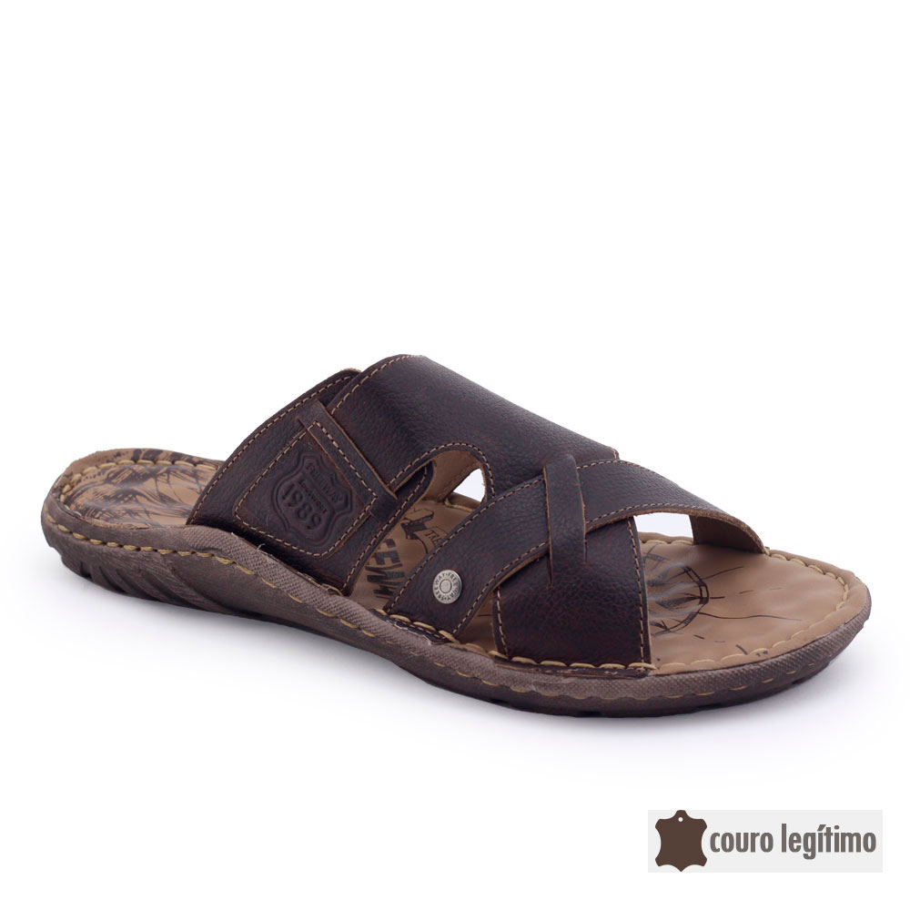 Chinelo Masculino Couro Natural Freeway Easywear Agave4 2905