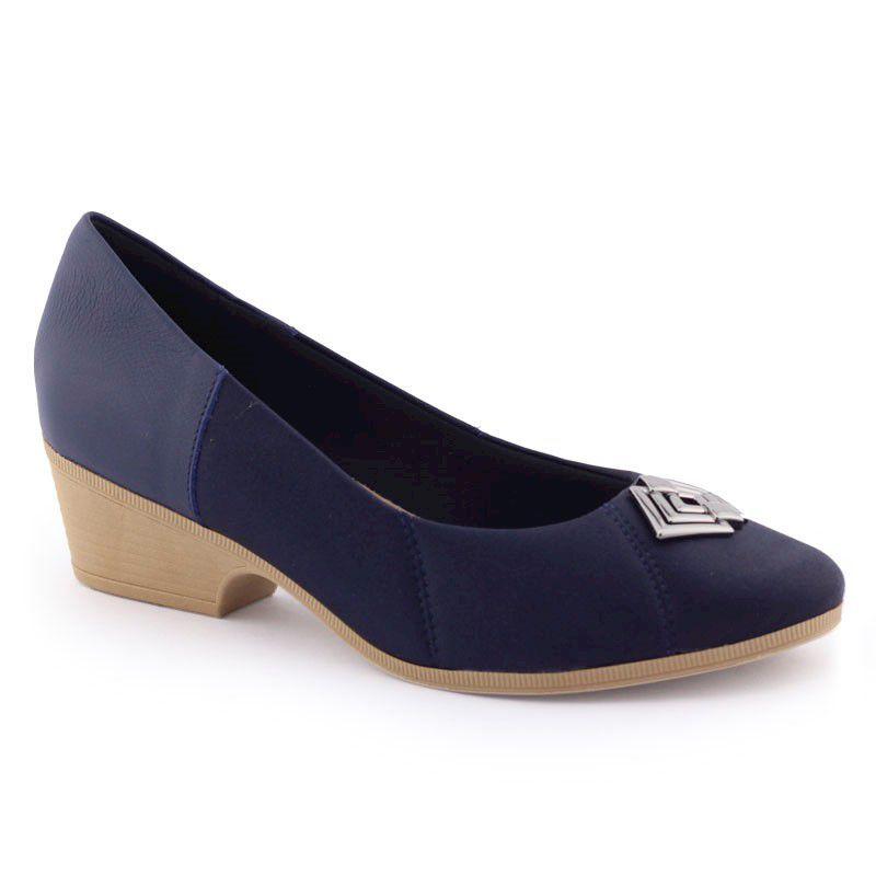 Sapato fem AB9106 salto robusto fachetado joanetes - Usaflex
