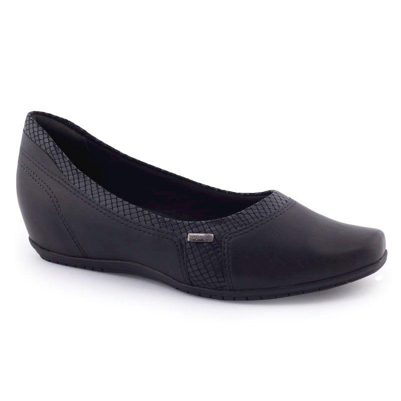 Sapato feminino 1994302 salto Anabela original - Comfortflex