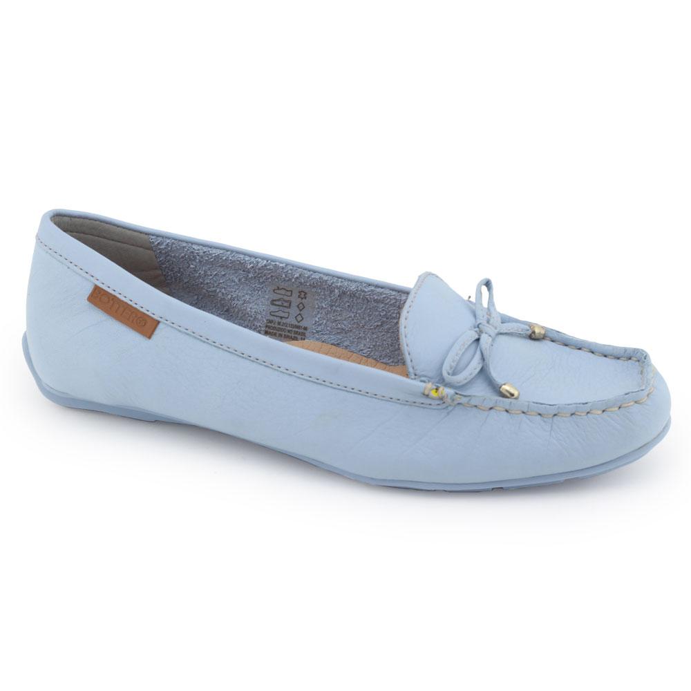 Sapato Mocassim feminino Bottero 330901 Couro azul com laço