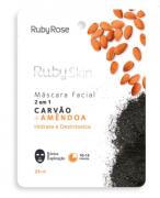 Máscara Facial De Tecido Carvão E Amêndoa Skin - Ruby Rose