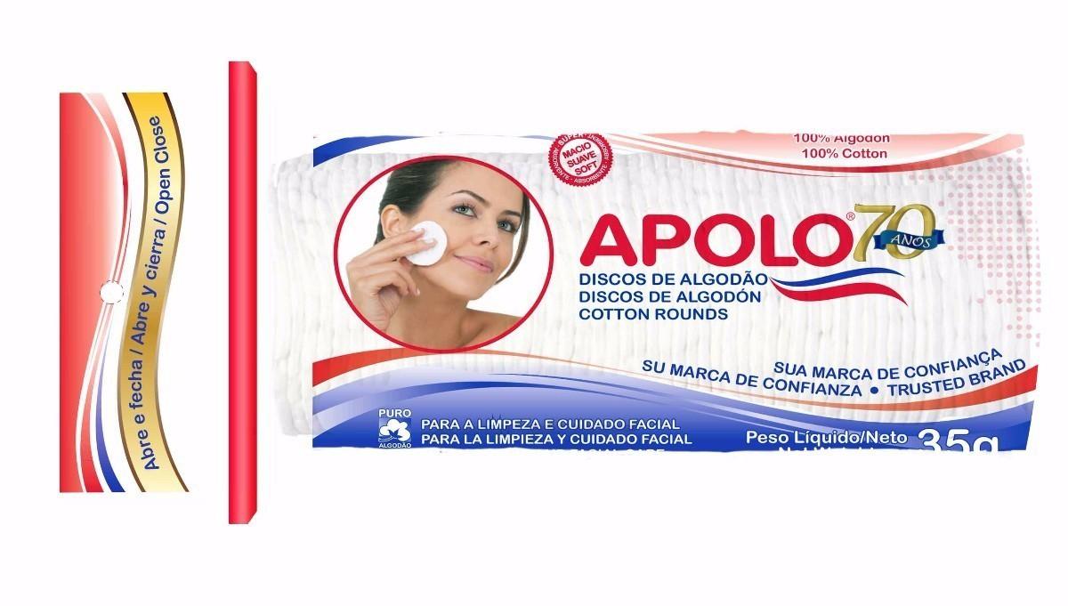 Algodão Facial Apolo Disco Ziplock 35g  - LUISA PERFUMARIA E COSMETICOS