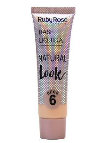 Base Líquida Natural Look Bege 6 Ruby Rose  - LUISA PERFUMARIA E COSMETICOS