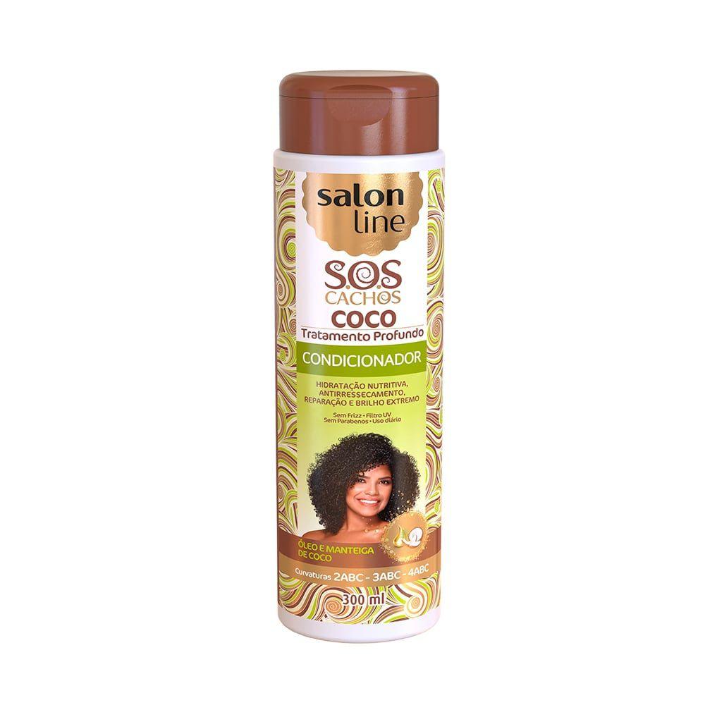 Condicionador S.O.S Cachos Coco Cabelos Nutridos 300ml - Salon Line