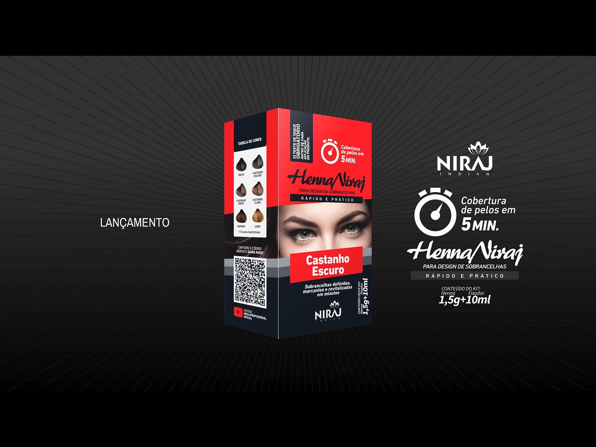 Henna Sobrancelha Niraj Indian 1,5g + 10ml fixador  - LUISA PERFUMARIA E COSMETICOS