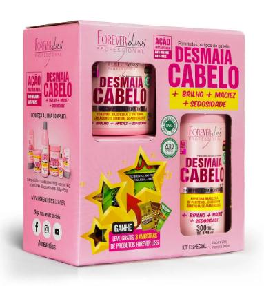 Kit Especial Desmaia Cabelo Forever Liss com Shampoo 300ml e Máscara 200g  - LUISA PERFUMARIA E COSMETICOS