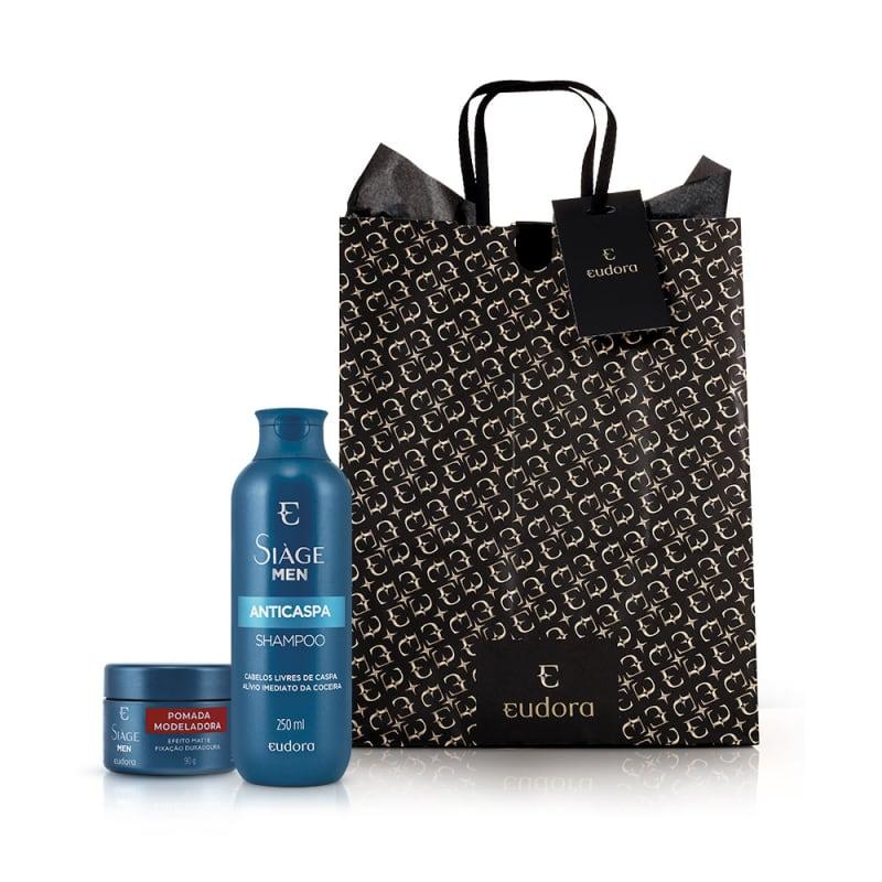 Kit Presente Siage Men Shampoo Anticaspa 250ml + Pomada Modeladora 90g  - LUISA PERFUMARIA E COSMETICOS