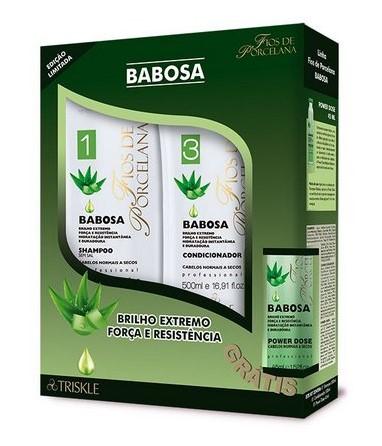 Kit Triskle Fios De Porcelana Babosa Shampoo + Cond 00ml *Gratis Power Dose