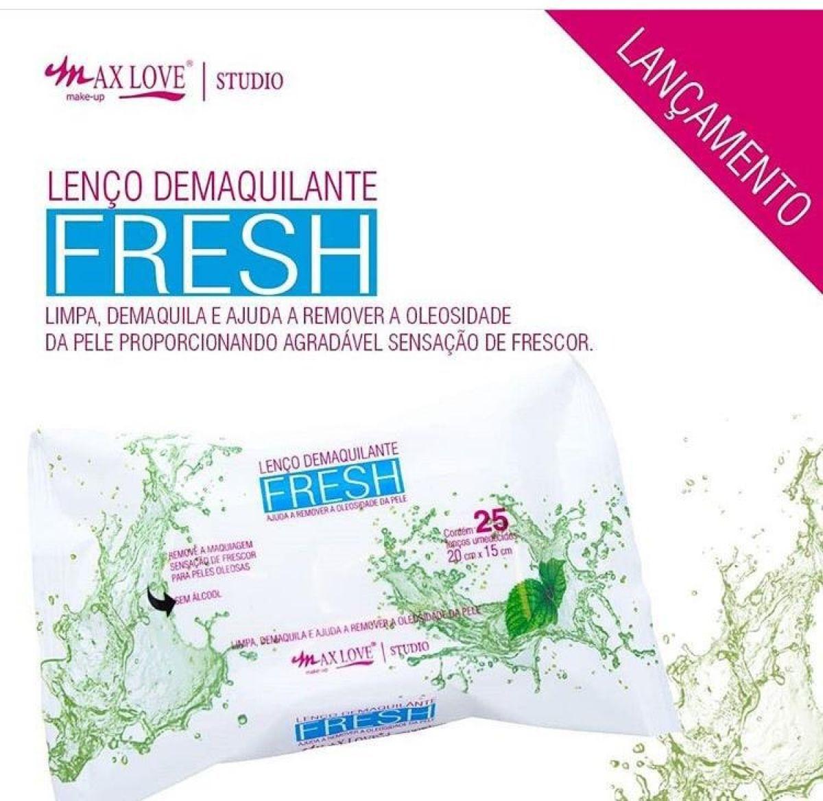 Lenço Demaquilante Fresh Max Love 25 Un  - LUISA PERFUMARIA E COSMETICOS