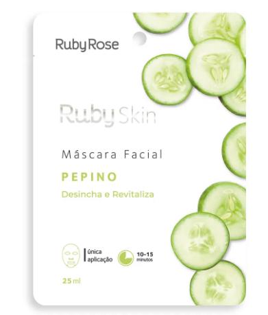 Máscara Facial De Tecido Pepino Skin Ruby Rose