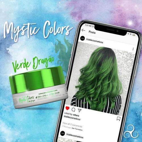 Máscara Pigmentante Triskle Mystic Colors Verde Dragão 120g  - LUISA PERFUMARIA E COSMETICOS
