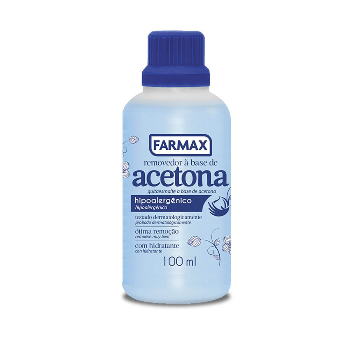 REMOV ESM ACETONA BLUE FARMAX 100ml  - LUISA PERFUMARIA E COSMETICOS