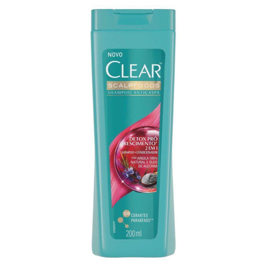 Shampoo Clear AntiCaspa Detox Pro Crescimento 200ml