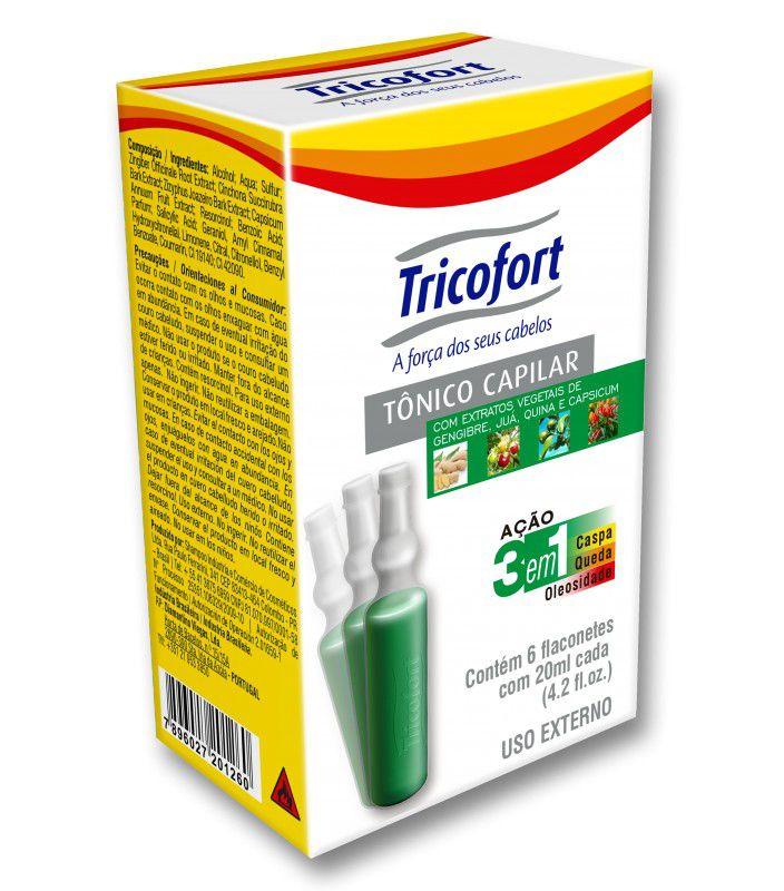 Tônico Capilar Tricofort com 6 ampolas de 20ml cada  - LUISA PERFUMARIA E COSMETICOS