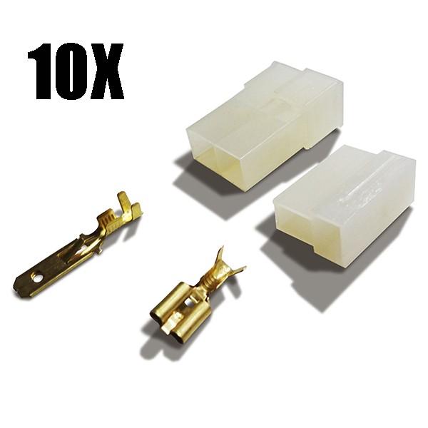 Conector 2 vias plug para caixa macho e fêmea 10 unidades