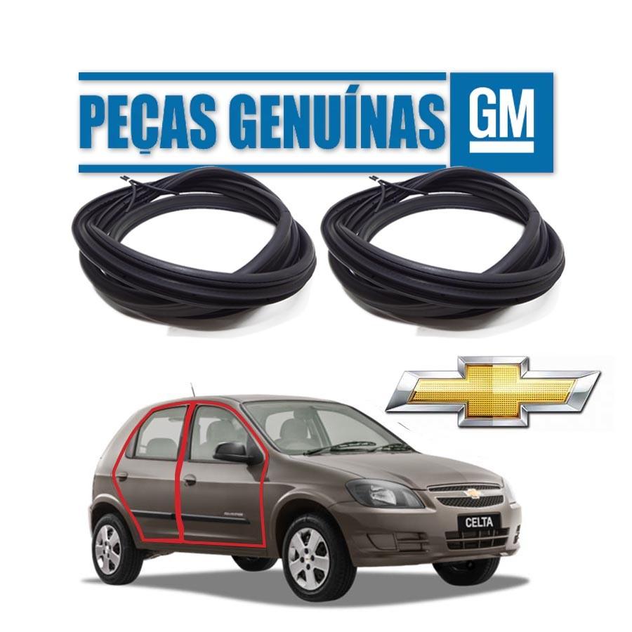 Kit de 2 Borrachas de Porta Dianteira e Traseira Direita Genuína Chevrolet Celta 4 portas Borrachauto
