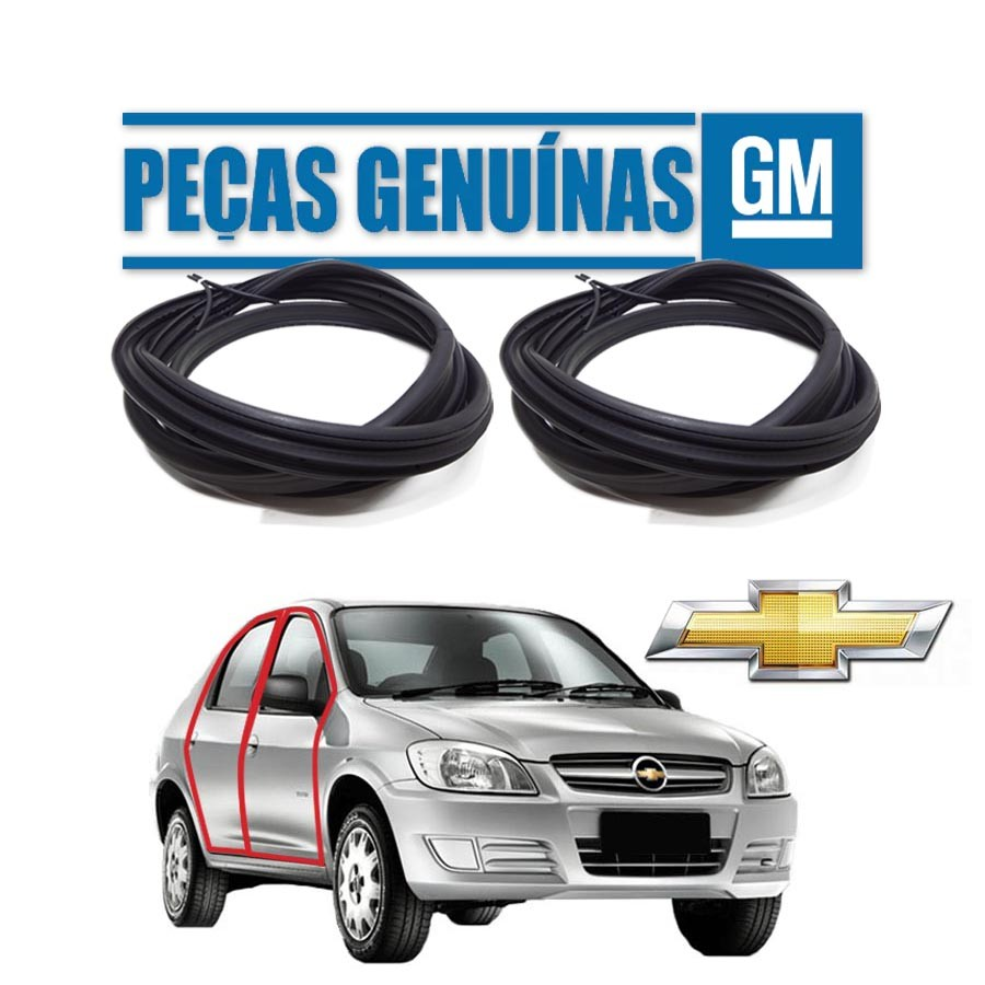 Kit de 2 Borrachas de Porta Dianteira e Traseira Direita Genuína Chevrolet Prisma 4 portas Borrachauto