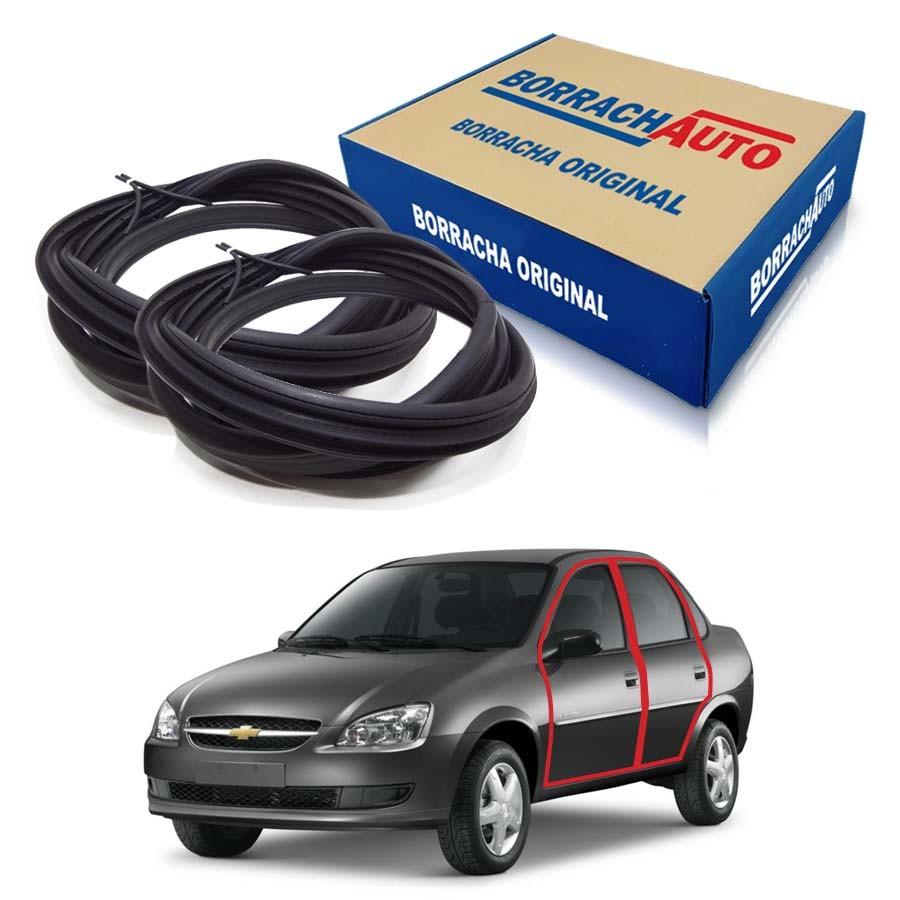 Kit de 2 Borrachas de Porta Dianteira e Traseira Esquerda com aba Original Chevrolet Corsa Classic Borrachauto