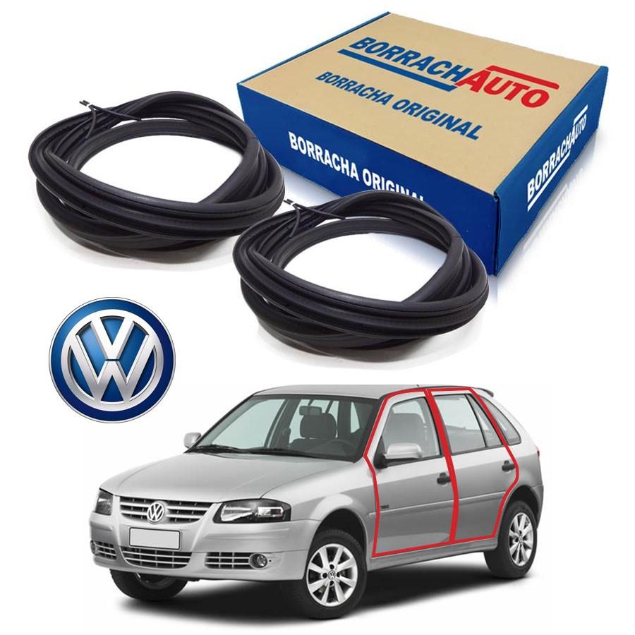 Kit de 2 Borrachas de Porta Dianteira e Traseira Esquerda  Volkswagen Gol Bola G2 G3 G4 4 portas Borrachauto