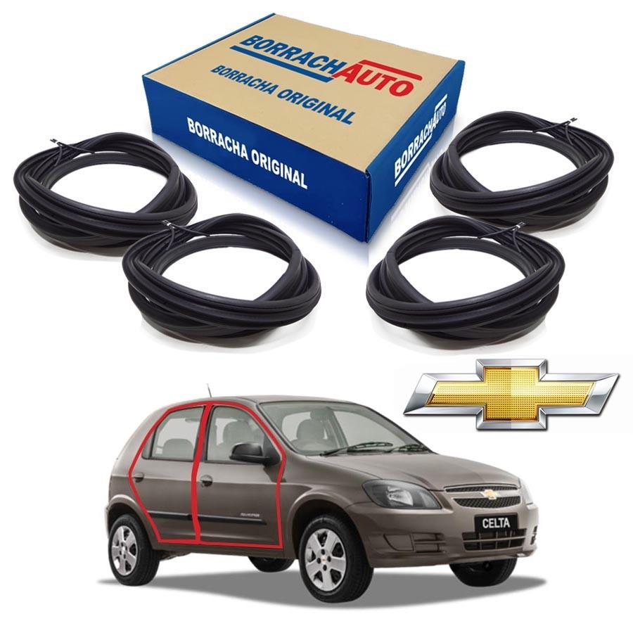 Kit de 4 Borrachas de Portas Dianteira e Traseira  Chevrolet Celta 4 portas Borrachauto