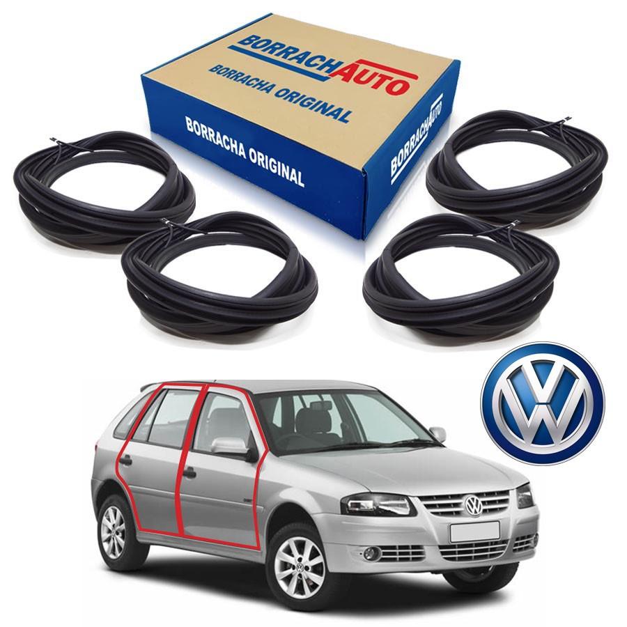 Kit de 4 Borrachas de Porta Dianteira e Traseira  Volkswagen Gol Bola G2 G3 G4 4 portas Borrachauto