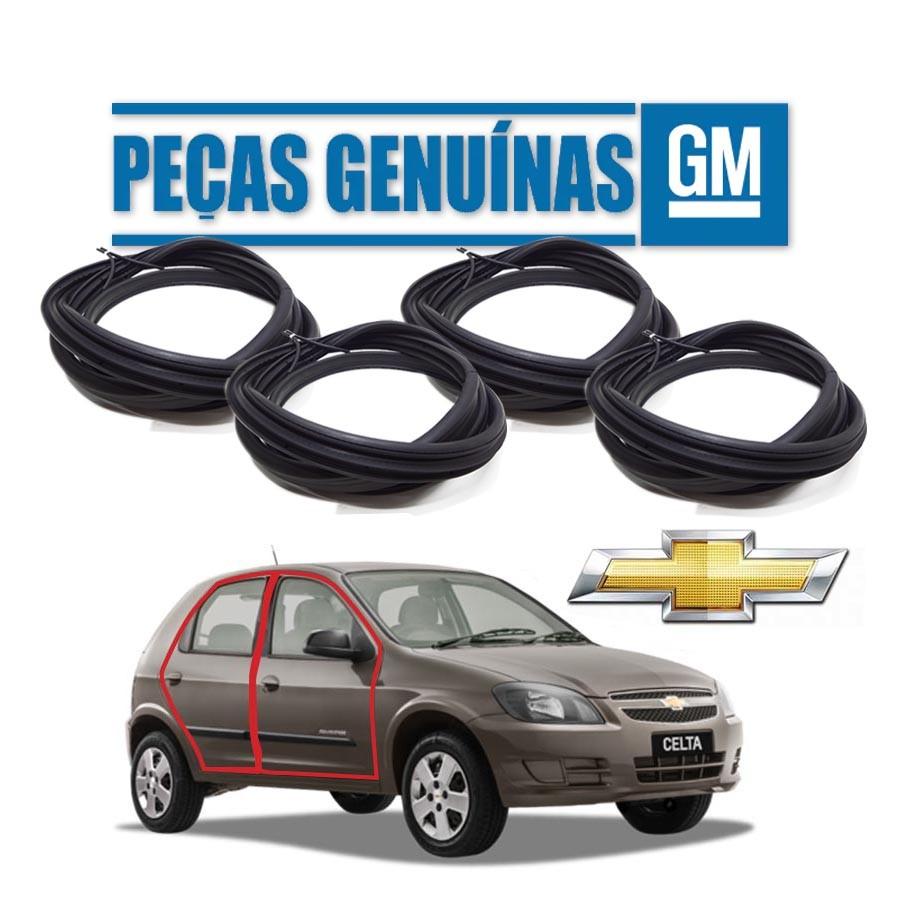 Kit de 4 Borrachas de Portas Dianteira e Traseira Genuína Chevrolet Celta 4 portas Borrachauto