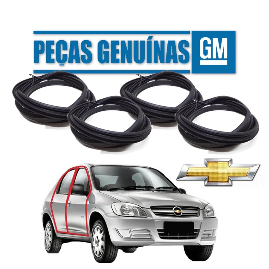 Kit de 4 Borrachas de Portas Dianteira e Traseira Genuína Chevrolet Prisma portas Borrachauto