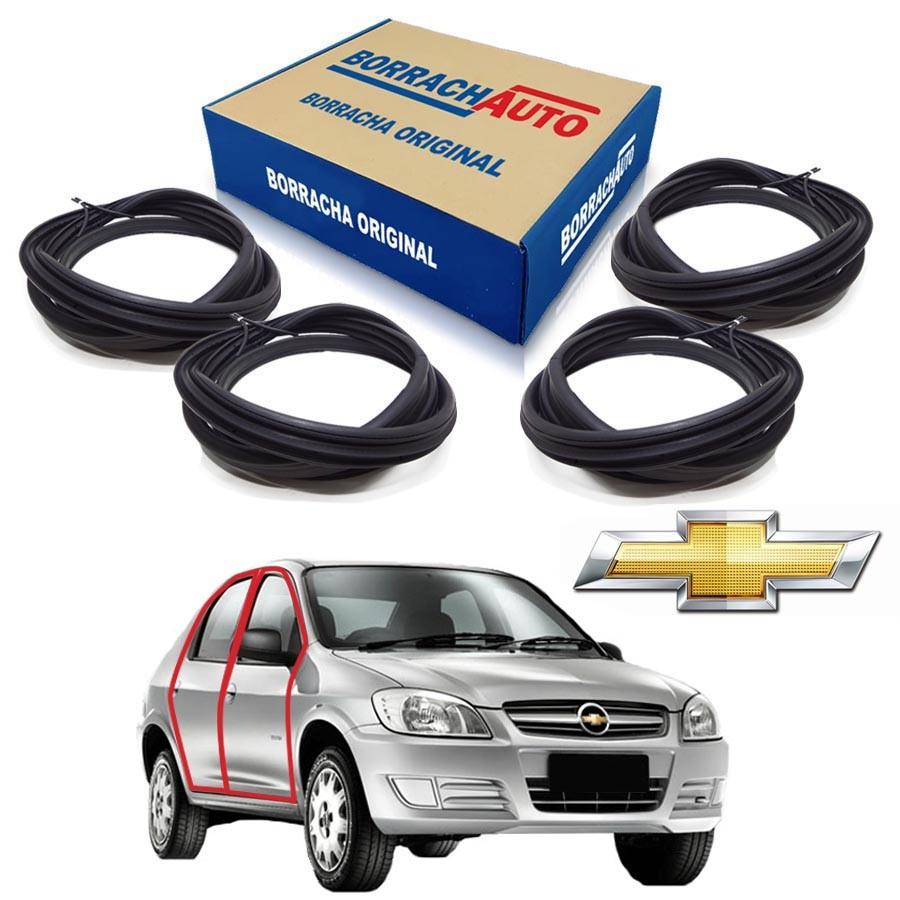 Kit de 4 Borrachas de Portas Dianteira e Traseira  Chevrolet Prisma portas Borrachauto