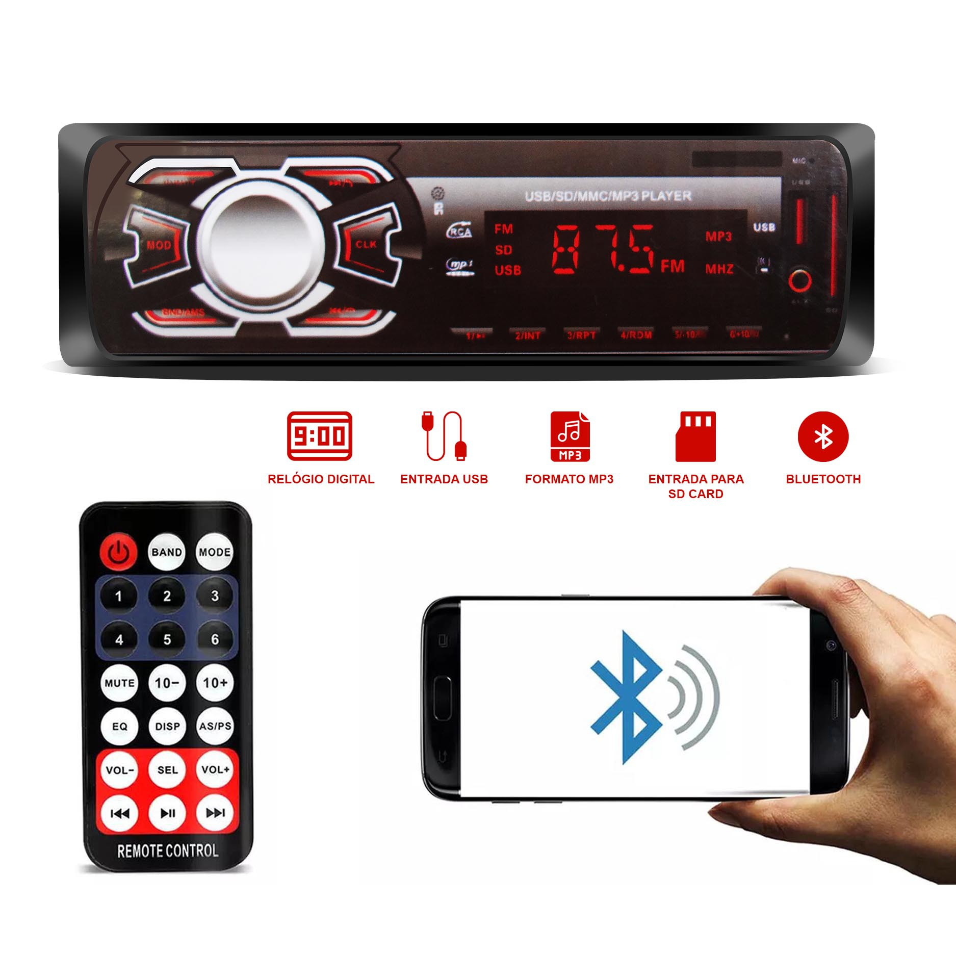 Rádio Automotivo Ruchi Bluetooth Rádio MP3 USB SD Auxiliar 1 Din