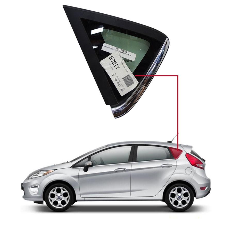 Vidro Óculo Traseiro Esquerdo Com Friso Cromado Ford Fiesta 10/14 Saint Gobain