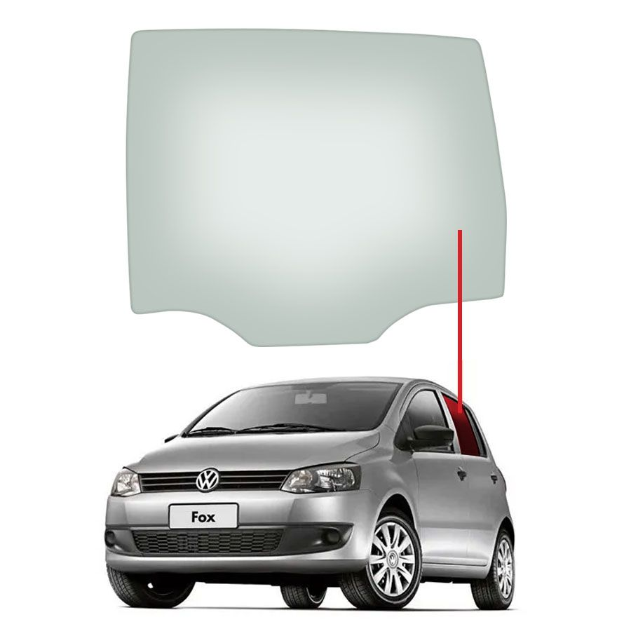 Vidro Porta Traseira Esquerda Volkswagen Fox 03/16 / Cross Fox 05/16 / Space Fox 06/16 / Space Cross 12/16 Glasstech
