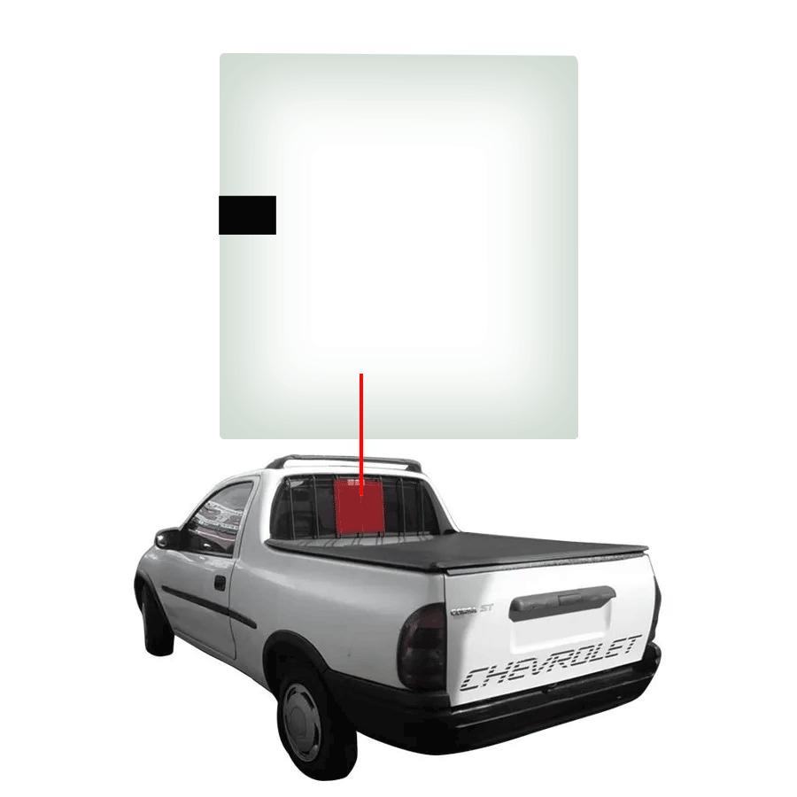 Vidro Traseiro Vigia Móvel Chevrolet Pick-up Corsa 1995 a 2003 Vetroex