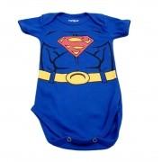 Body Superman - Estampado Meia Manga - 0 à 7 meses - Suedine 100% Algodão - Família Kids