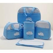 Kit Bolsa Maternidade - Bordada - 05 Peças - Tecido Impermeável - Mappyng Baby