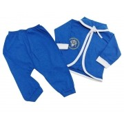 Conjunto Pagão Azul - Camiseta, Casaquinho e Mijão - 03 Peças - Recém Nascido - 100% Algodão - Cia do Bebê