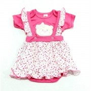 Conjunto Pink Floral - 02 Peças - Jardineira C/ Body Meia Manga - 100% Algodão - Baby Amore