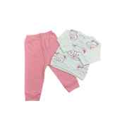 Conjunto Urso  - Camisa manga longa e Calça - 02 Peças - 07 à 10 Meses  - 100% Algodão - Gente Miúda
