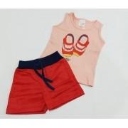 Conjunto Verão Bailarina - Camisa Regata E Shorts - 02 Peças - 1 Ano - Fashion Kids