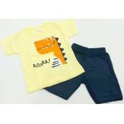 Conjunto Verão Dino - Camisa Meia Manga E Shorts - 02 Peças - 4 à 10 meses - Fashion Kids