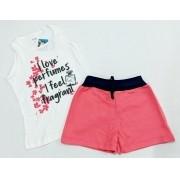 Conjunto Verão Floral - Camisa Regata e Shorts - 02 Peças - 4 à 6 anos - Fashion Kids