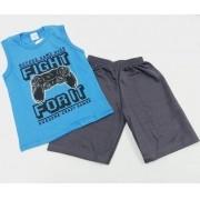 Conjunto Verão Game Over - Camisa Regata e Shorts - 02 Peças - 6 anos - Fashion Kids