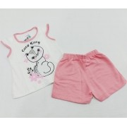 Conjunto Verão Gatinha - Camiseta E Shorts - 02 Peças - 4 à 10 meses - Fashion Kids