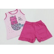 Conjunto Verão Gatinha Pink - Camiseta E Shorts - 02 Peças - 1 à 3 Anos - Fashion Kids