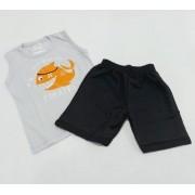 Conjunto Verão Shark - Camisa Regata E Shorts - 02 Peças - 3 Anos - Fashion Kids