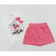 Conjunto Verão Ursinho Baby - Camiseta E Shorts Saia - 02 Peças - 1 à 3 Anos - Fashion Kids