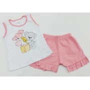 Conjunto Verão Ursinho Love - Camiseta E Shorts - 02 Peças - 7 à 10 meses - Fashion Kids
