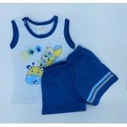 Conjunto Zoo - Camisa Regata E Shorts - 02 Peças - 100% Algodão - Happy Baby