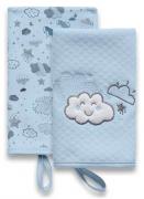 Kit Babetes Névoa Azul - Com  Prendedor de Chupeta - 02 UN - Suedine 100% algodão - Hug