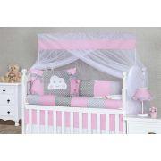 Kit de Berço Nuvem Glamour Rosa - Tiquinho Baby