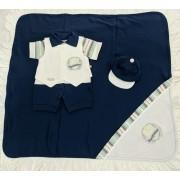 Saída de Maternidade Azul Marinho - Recém Nascido - 04 Peças - UV Protection 50+ em Algodão - Pipoquinhas Baby